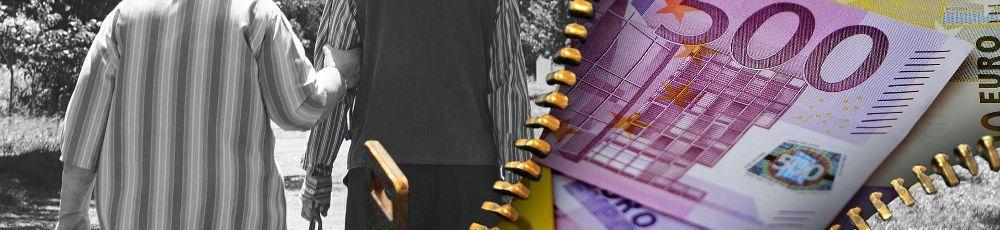 Rentnerpaar und Geldscheine